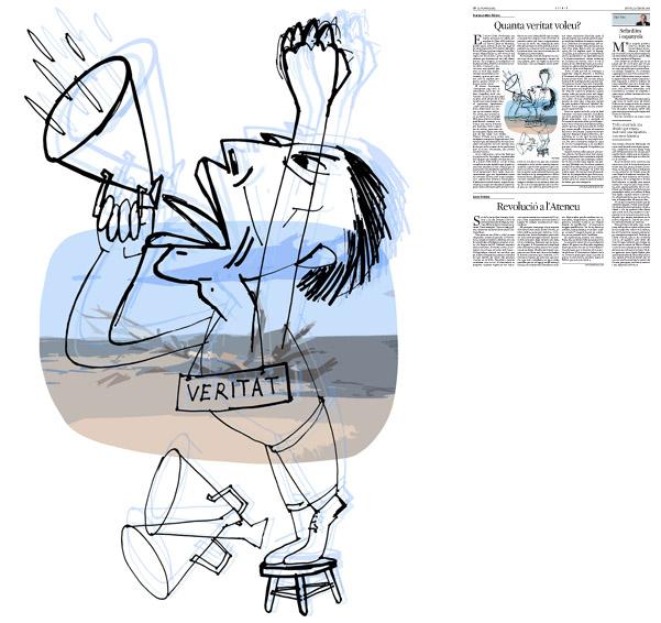 Jordi Barba, Barcelona, Cataluña, España, Artista, pintor, ilustrador, diseñador gráfico. Ilustración para La Vanguardia 13/02/2014