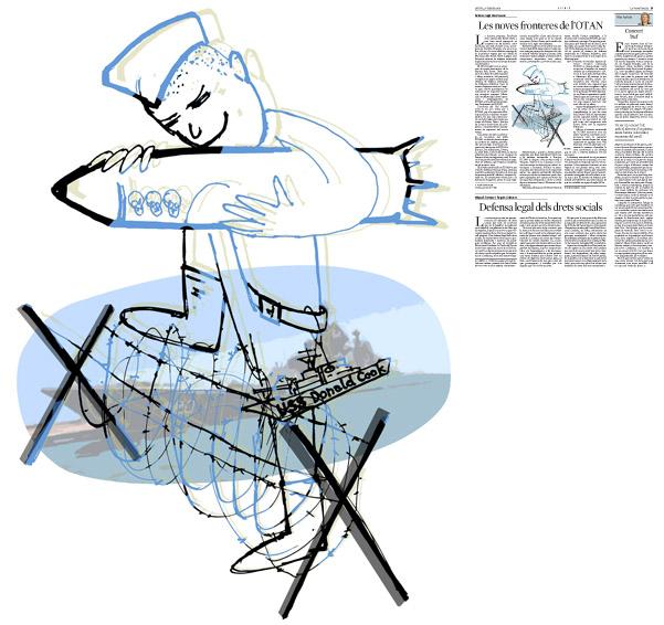 Il·lustració de Jordi Barba  publicada a La Vanguardia, secció d'Opinió 27-02-2014 per a l'article de Anders Fogh Rasmussen