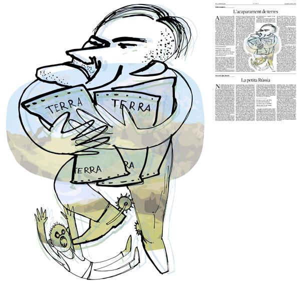 Il·lustració de Jordi Barba  publicada a La Vanguardia, secció d'Opinió 1-03-2014 per a l'article de Anders Carles Casajuana