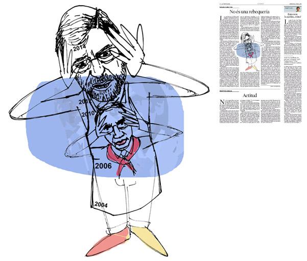 Il·lustració de Jordi Barba  publicada a La Vanguardia, secció d'Opinió 5-03-2014 per a l'article de Salvador Cardús i Ros