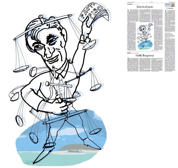 Il·lustració de Jordi Barba  publicada a La Vanguardia, secció d'Opinió 11-03-2014 per a l'article de Kepa Aulestia