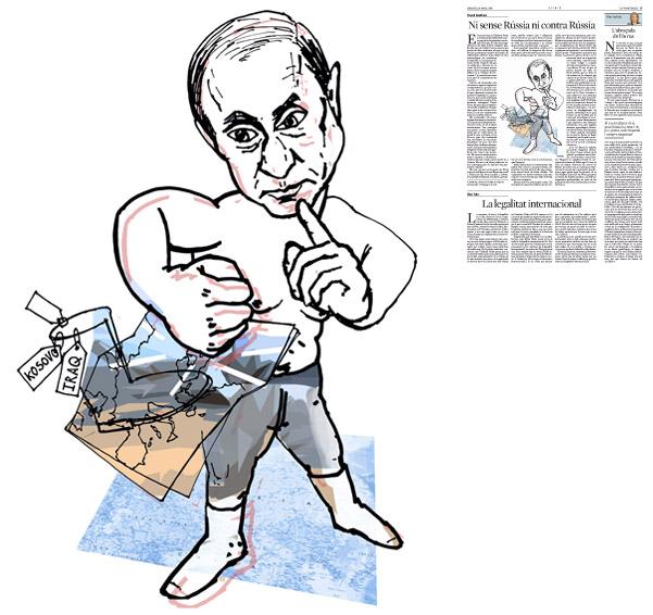 Ilustración publicada en La Vanguardia, sección de Opinión 18-03-2014 para el artículo de Pascal Boniface