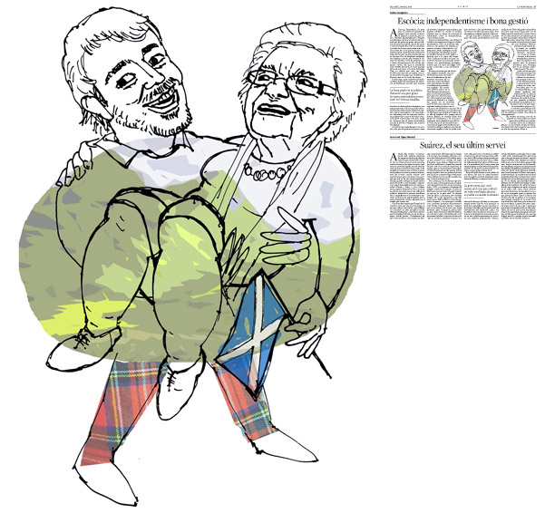 Il·lustració de Jordi Barba  publicada a La Vanguardia, secció d'Opinió 29-03-2014 per a l'article de Carles Casajuana