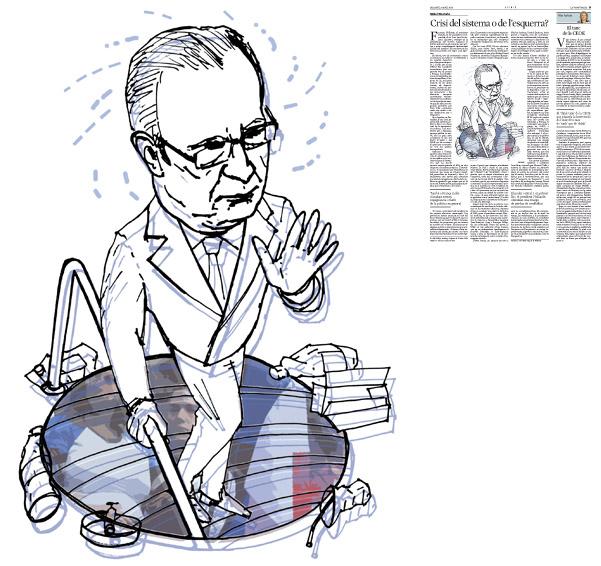 Il·lustració de Jordi Barba  publicada a La Vanguardia, secció d'Opinió 5-04-2014 per a l'article de Michel Wieviorka