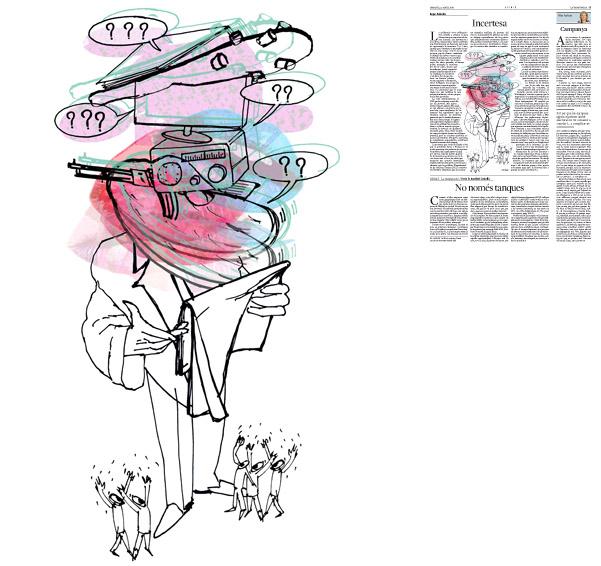 Ilustración publicada en La Vanguardia, sección de Opinión 22-04-2014 para el artículo de Kepa Aulestia