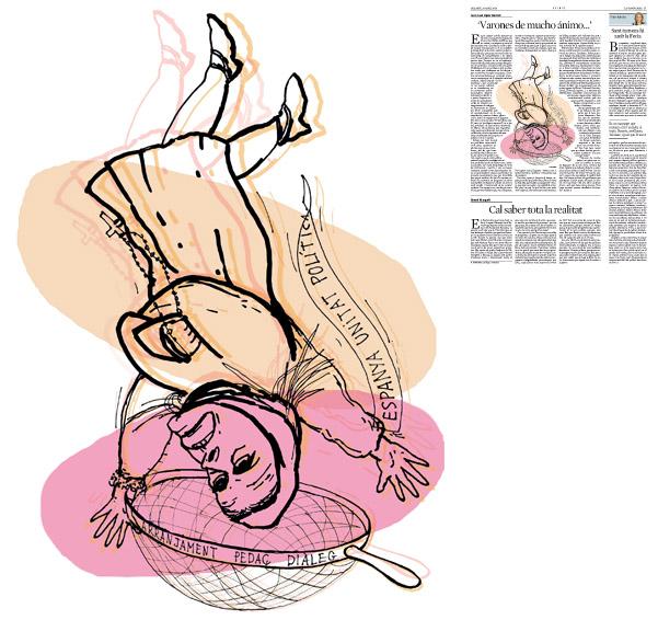 Ilustración publicada en La Vanguardia, sección de Opinión 26-04-2014 para el artículo de Juan-José López Burniol