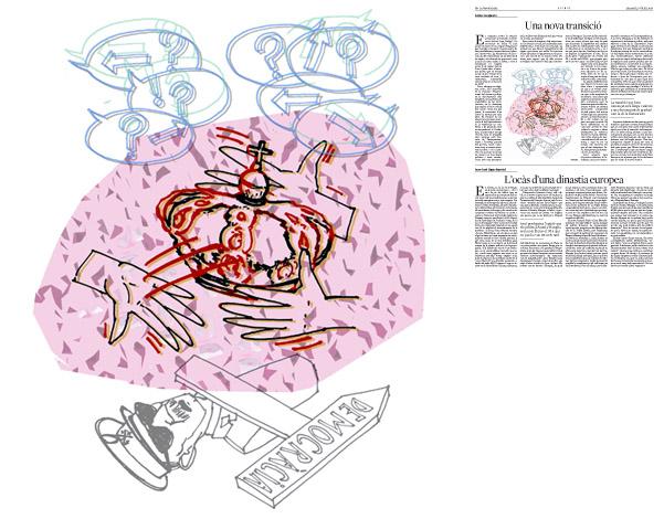 Jordi Barba, il·lustració publicada a La Vanguardia, secció d'Opinió 5-07-2014 per a l'article de Carles Casajuana