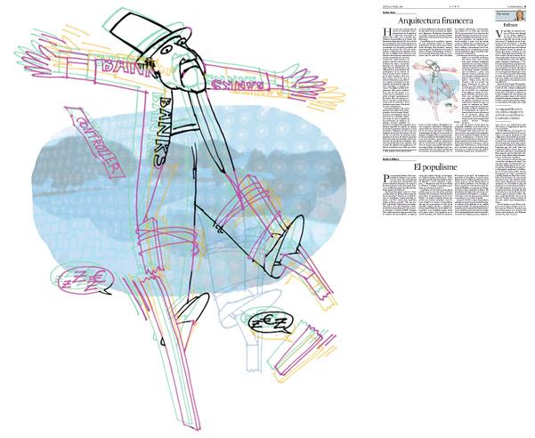 Jordi Barba, il·lustració publicada a La Vanguardia, secció d'Opinió 17-07-2014 per a l'article de Xavier Vives