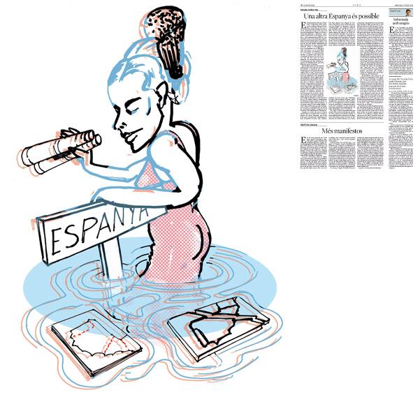 Jordi Barba, il·lustració publicada a La Vanguardia, secció d'Opinió 23-07-2014 per a l'article de Salvador Cardús i Ros