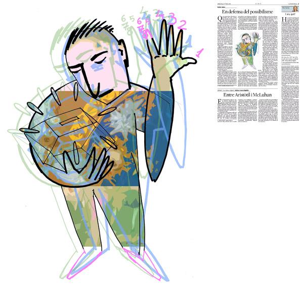 Jordi Barba, il·lustració publicada a La Vanguardia, secció d'Opinió 30-07-2014 per a l'article de Antón Costas