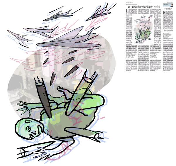 Jordi Barba, ilustración publicada en La Vanguardia, sección de Opinión 11-08-2014 para el artículo de Ian Buruma