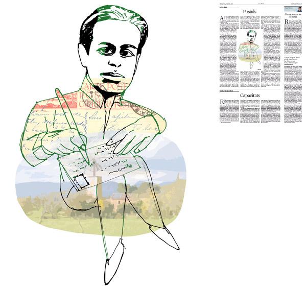 Jordi Barba, ilustración publicada en La Vanguardia, sección de Opinión 17-08-2014 para el artículo de Carme Riera