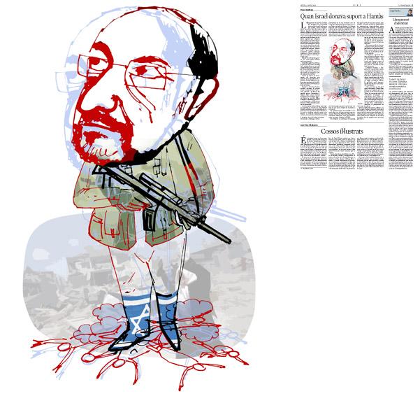 Jordi Barba, ilustración publicada en La Vanguardia, sección de Opinión 21-08-2014 para el artículo de Pascal Boniface