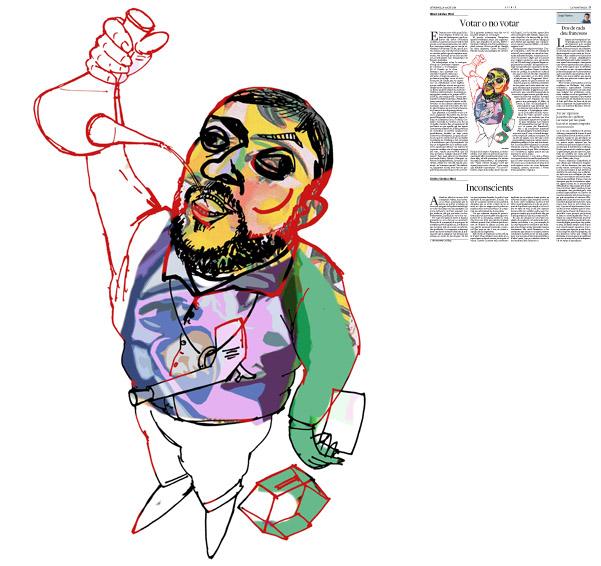 Jordi Barba, ilustración publicada en La Vanguardia, sección de Opinión 24-08-2014 para el artículo de Albert Sánchez Piñol