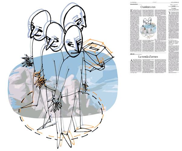 Jordi Barba, ilustración publicada en La Vanguardia, sección de Opinión 4-09-2014 para el artículo de Francesc-Marc Álvaro
