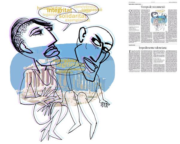 Jordi Barba, ilustración publicada en La Vanguardia, sección de Opinión 8-09-2014, para el artículo de Àngel Castiñeira y Josep M. Lozano