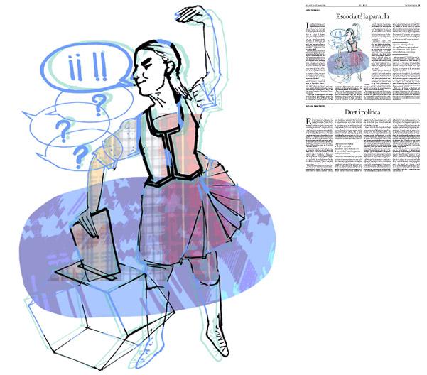Jordi Barba, ilustración publicada en La Vanguardia, sección de Opinión 13-09-2014, para el artículo de Carles Casajuana
