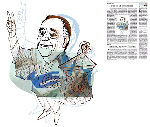 Jordi Barba, ilustración publicada en La Vanguardia, sección de Opinión 18-09-2014, para el artículo de Francesc-Marc Álvaro