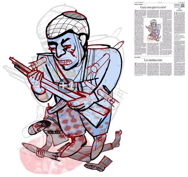 Jordi Barba, ilustración publicada en La Vanguardia, sección de Opinión 20-09-2014, para el artículo de Abraham B. Yehoshua