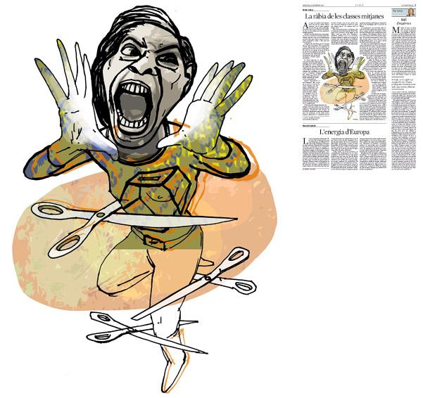 Jordi Barba, ilustración publicada en La Vanguardia, sección de Opinión 24-09-2014, para el artículo de Antón Costas