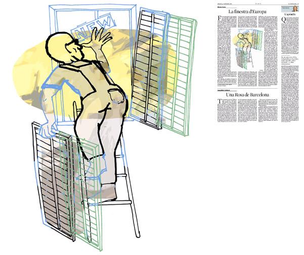 Jordi Barba, ilustración publicada en La Vanguardia, sección de Opinión 30-09-2014, para el artículo de Alfredo Pastor