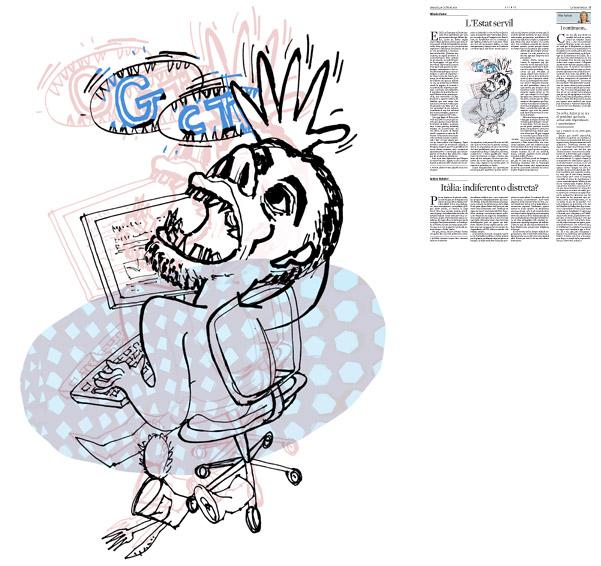 Jordi Barba, il·lustració publicada a La Vanguardia, secció d'Opinió 14-10-2014, per a l'article de Alfredo Pastor