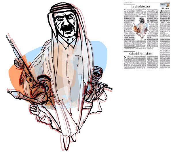 Jordi Barba, il·lustració publicada a La Vanguardia, secció d'Opinió 24-10-2014, per l'article de Brahma Chellaney