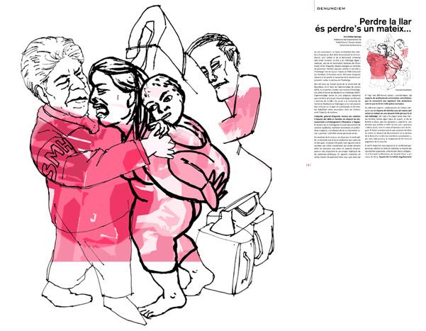 Jordi Barba, il·lustración publicada en El Batec núm. 3 de Cáritas Barcelona, diciembre de 2014, para el artículo de Violeta Quiroga