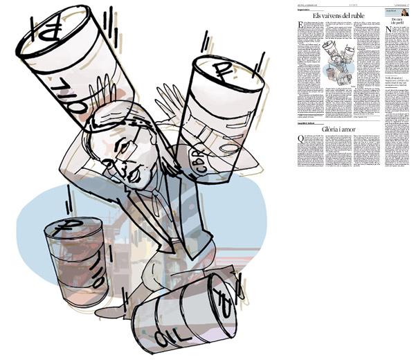 Jordi Barba, il·lustració publicada a La Vanguardia, secció d'Opinió 22-12-2014, per l'article de Serguei Guríev