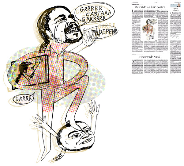Jordi Barba, ilustración publicada en La Vanguardia, sección de Opinión 25-12-2014, para el artículo de Francesc-Marc Álvaro