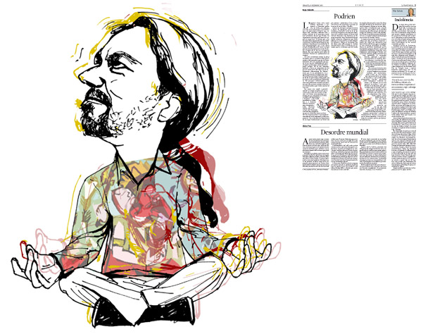Jordi Barba, ilustración publicada en La Vanguardia, sección de Opinión 30-12-2014, para el artículo de Kepa Aulestia