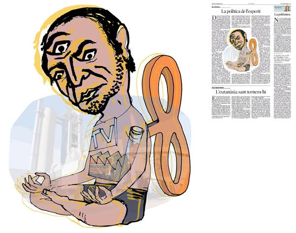 Jordi Barba, il·lustració publicada a La Vanguardia, secció d'Opinió 8-01-2015, per l'article de Luis Racionero