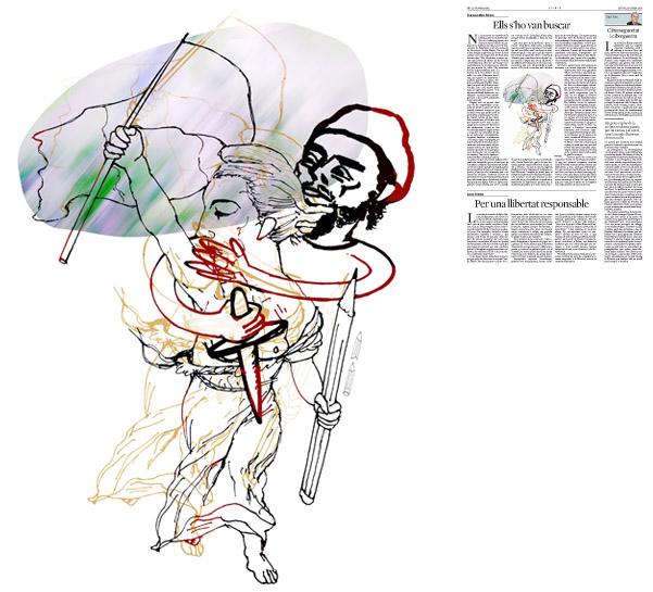 Jordi Barba, il·lustració publicada a La Vanguardia, secció d'Opinió 15-01-2015, per l'article de Francesc-Marc Álvaro