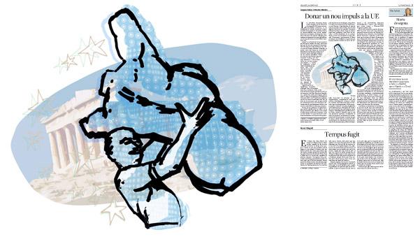 Jordi Barba, il·lustració publicada a La Vanguardia, secció d'Opinió 24-01-2015, per l'article de Jacques Delors i Antonio Vitorino