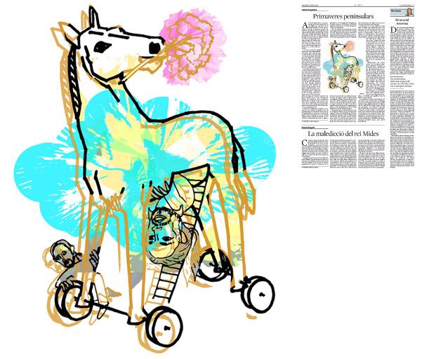 Jordi Barba, il·lustració publicada a La Vanguardia, secció d'Opinió 25-04-2015, per l'article de Gabriel Magalhães