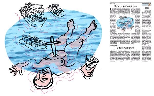 Jordi Barba, il·lustració publicada a La Vanguardia, secció d'Opinió 3-05-2015, per l'article de Walter Laqueur