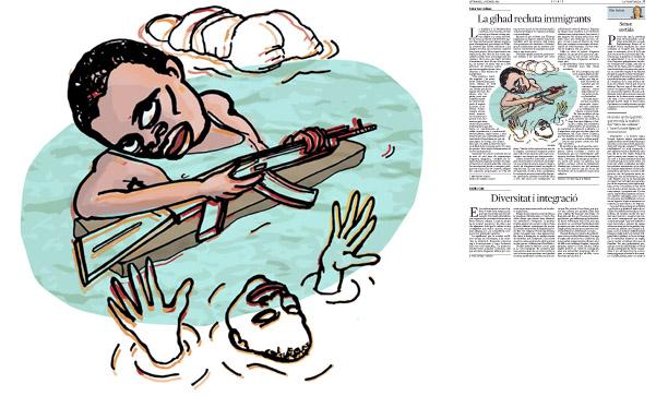Jordi Barba, il·lustració publicada a La Vanguardia, secció d'Opinió 27-02-2015, per l'article de Tahar ben Jelloun