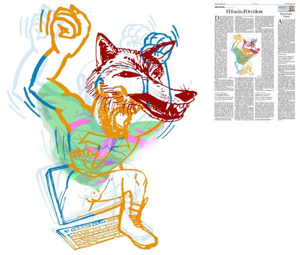 Jordi Barba, il·lustració publicada a La Vanguardia, secció d'Opinió 12-03-2015, per l'article de Michel Wieviorka