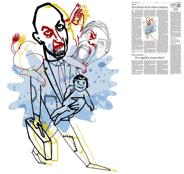 Jordi Barba, il·lustració publicada a La Vanguardia, secció d'Opinió 25-03-2015, per l'article de Antón Costas