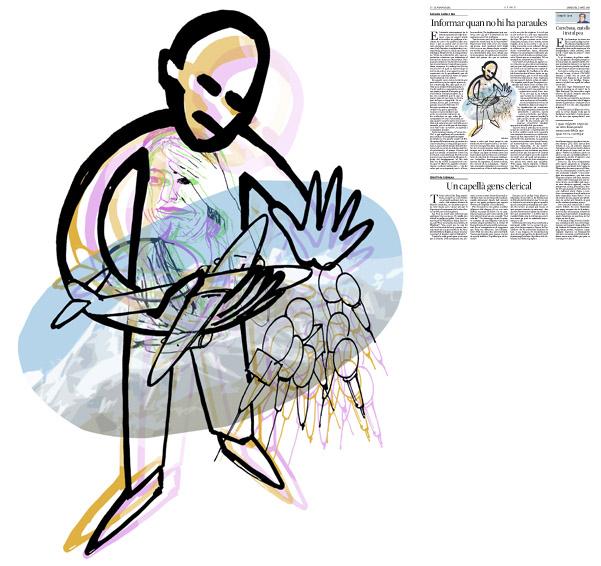 Jordi Barba, il·lustració publicada a La Vanguardia, secció d'Opinió 1-04-2015, per l'article de Salvador Cardús i Ros