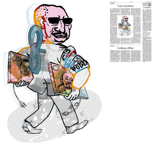 Jordi Barba, il·lustració publicada a La Vanguardia, secció d'Opinió 7-04-2015, per l'article de Kepa Aulestia