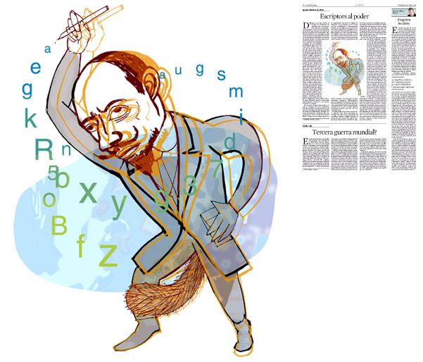 Jordi Barba, il·lustració publicada a La Vanguardia, secció d'Opinió 10-04-2015, per l'article de Ignacio Martínez de Pisón