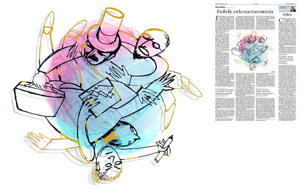 Jordi Barba, il·lustració publicada a La Vanguardia, secció d'Opinió 13-04-2015, per l'article de Robert Skidelsky