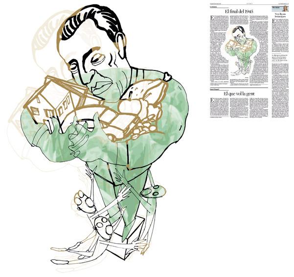 Jordi Barba, il·lustració publicada a La Vanguardia, secció d'Opinió 9-05-2015, per l'article de Ian Buruma