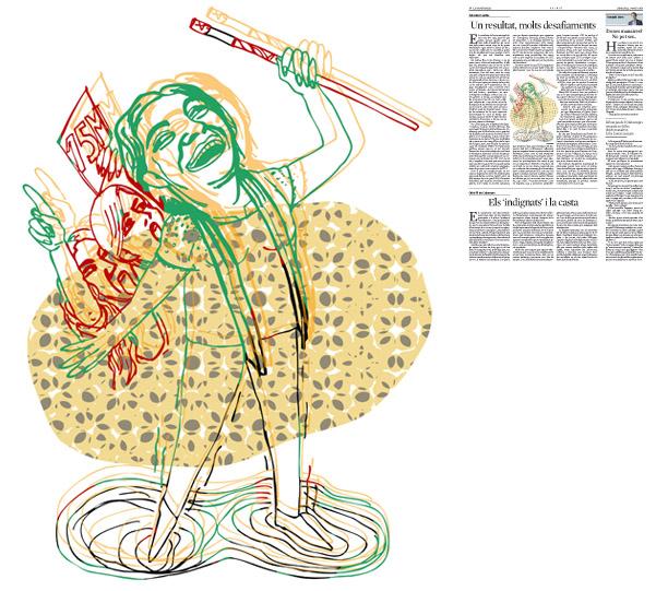 Jordi Barba, il·lustració publicada a La Vanguardia, secció d'Opinió 27-05-2015, per l'article de Salvador Cardús
