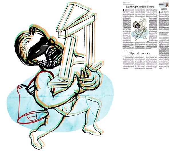 Jordi Barba, il·lustració publicada a La Vanguardia, secció d'Opinió 10-06-2015, per l'article de Lluís Foix