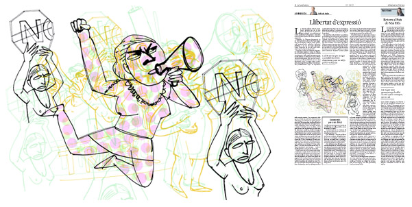 Jordi Barba, il·lustració publicada a La Vanguardia, secció d'Opinió 14-06-2015, per l'article de Julià de Jòdar