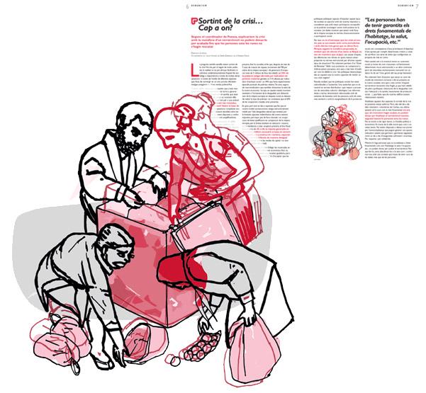Jordi Barba, il·lustració publicada a El Batec núm. 4 de Càritas Barcelona, juny de 2015, per l'article de Francisco Lorenzo
