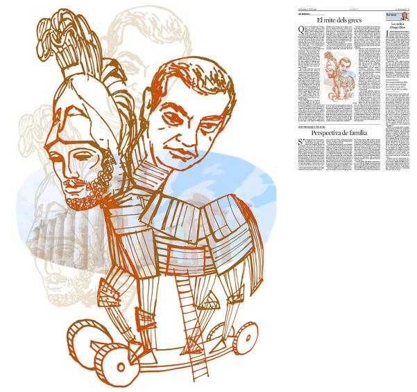 Jordi Barba, il·lustració publicada a La Vanguardia, secció d'Opinió 10-07-2015, per l'article de Luis Racionero
