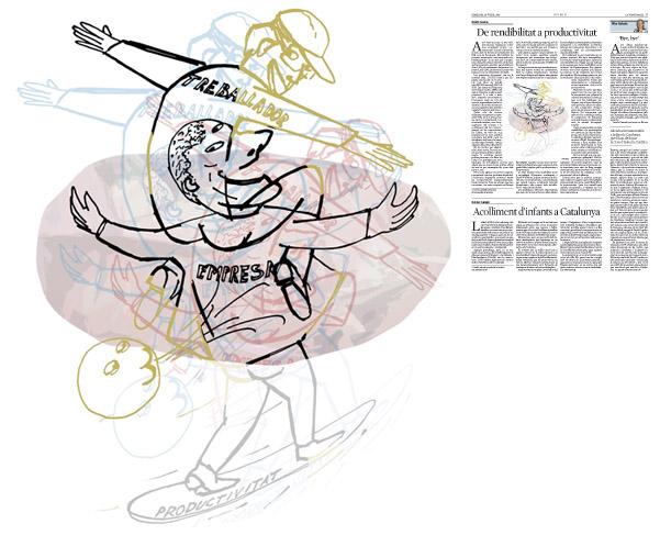 Jordi Barba, il·lustració publicada a La Vanguardia, secció d'Opinió 29-07-2015, per l'article de Antón Costas